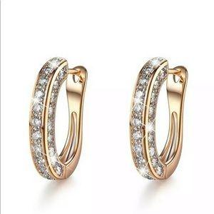 New 18k gold plated diamond hoop earrings